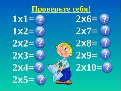 Проверьте себя! 1х1= 1 1х2= 2 2х2= 4 2х3= 6 2х4= 8 2х5= 10 2х6= 12 2х7= 14 2х...