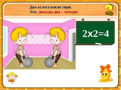 Два атлета взяли гири. Это: дважды два – четыре. 2х2=4