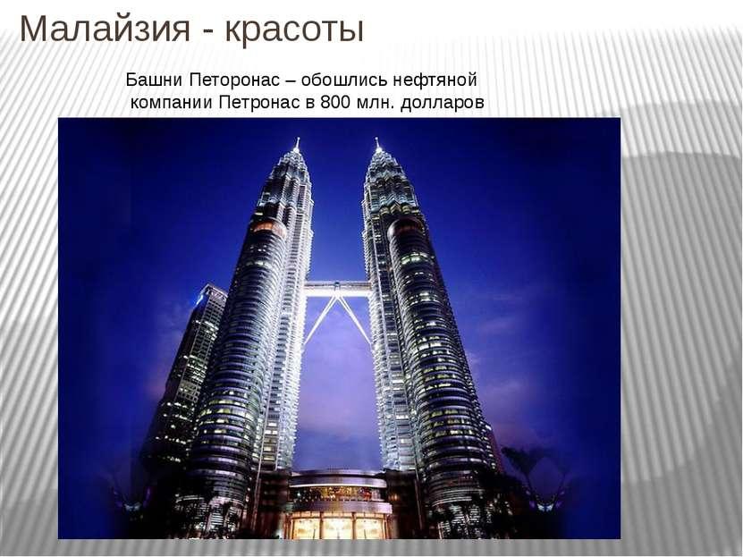 Малайзия - красоты Башни Петоронас – обошлись нефтяной компании Петронас в 80...