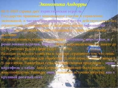 Экономика Андорры 80 % ВВП страны даёт туристическая отрасль. Государство при...
