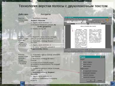 Технология верстки полосы с двуколоночным текстом. Действие Алгоритм Верстка ...