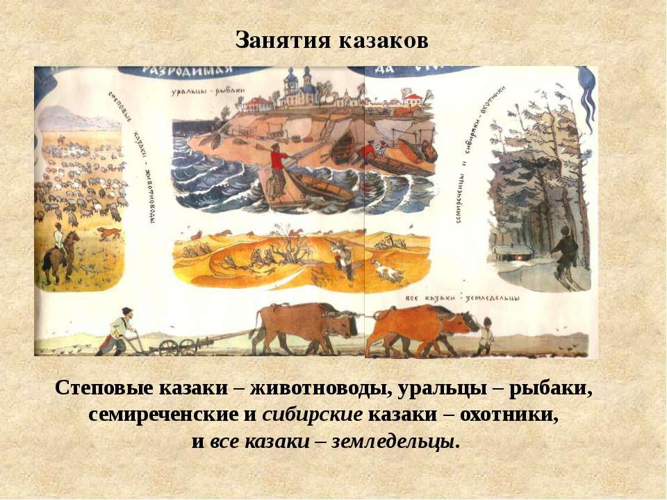 Степовые казаки – животноводы, уральцы – рыбаки, семиреченские и сибирские ка...