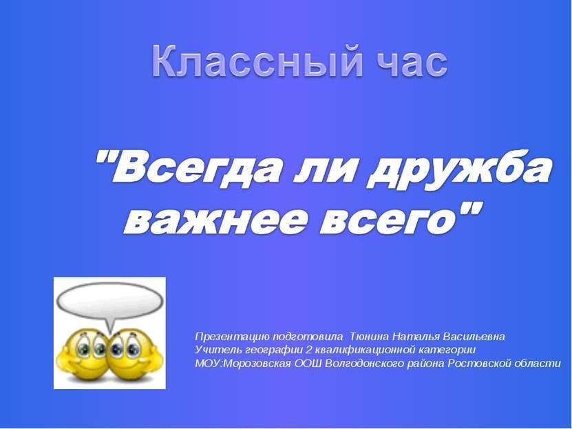 Презентацию подготовила Тюнина Наталья Васильевна Учитель географии 2 квалифи...