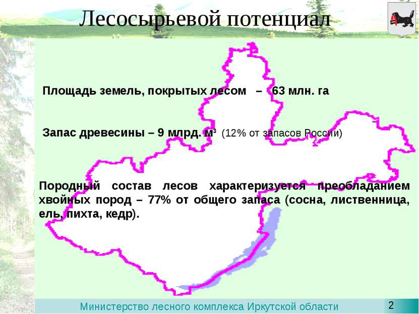 Лесосырьевой потенциал Площадь земель, покрытых лесом – 63 млн. га Запас древ...