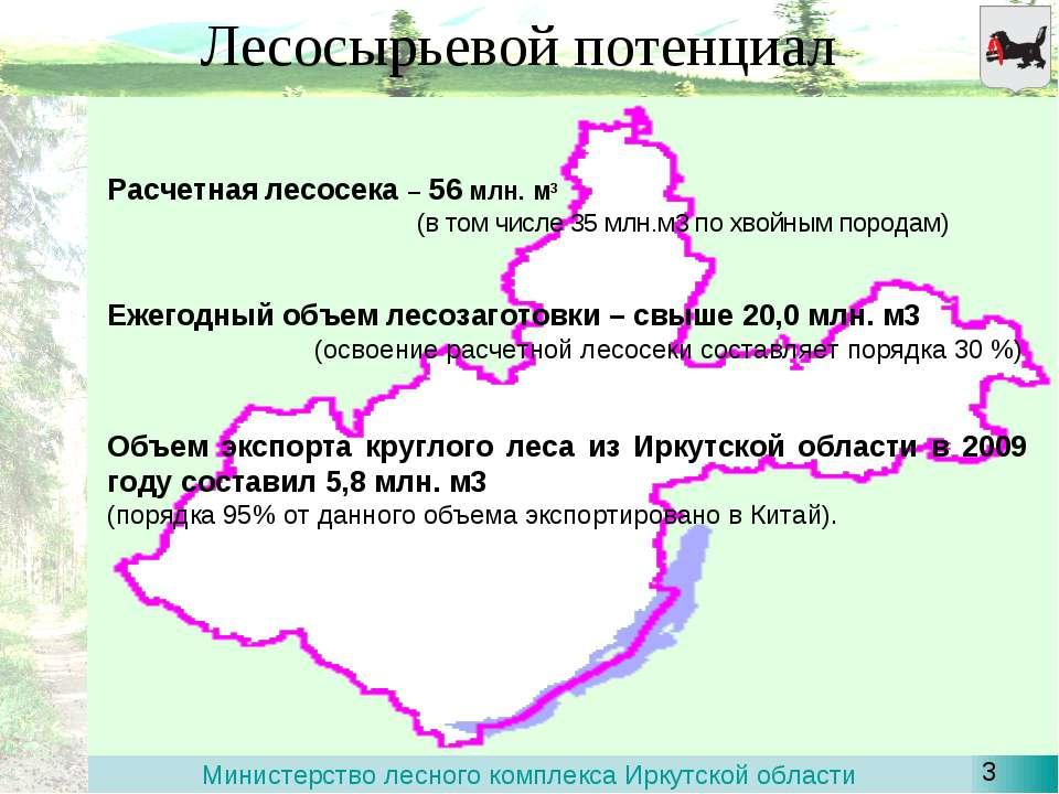 Лесосырьевой потенциал Расчетная лесосека – 56 млн. м3 (в том числе 35 млн.м3...
