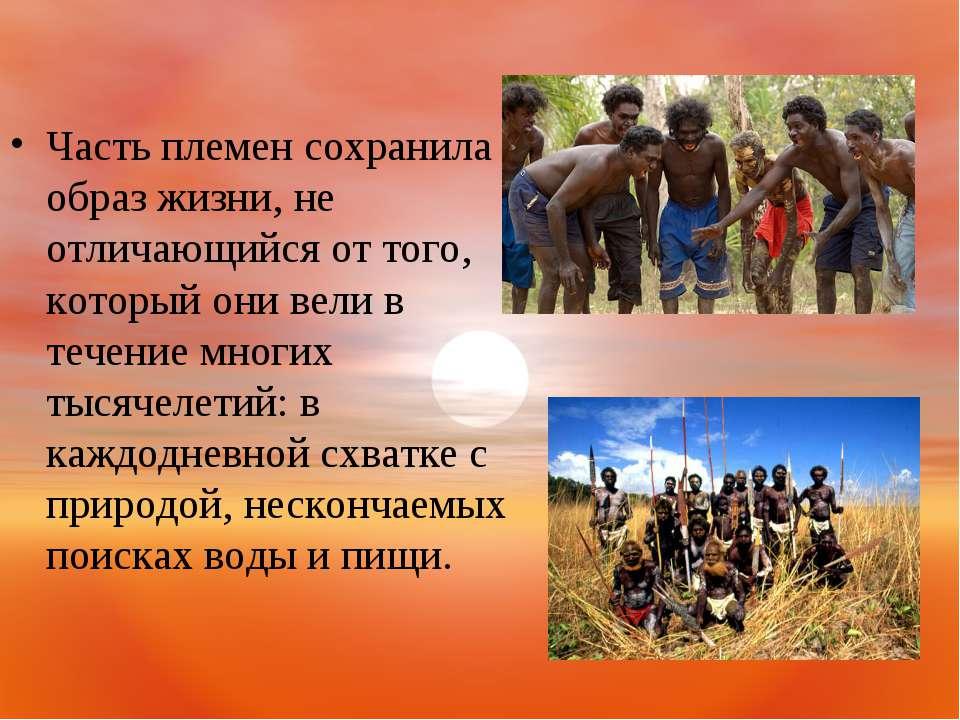 Часть племен сохранила образ жизни, не отличающийся от того, который они вели...
