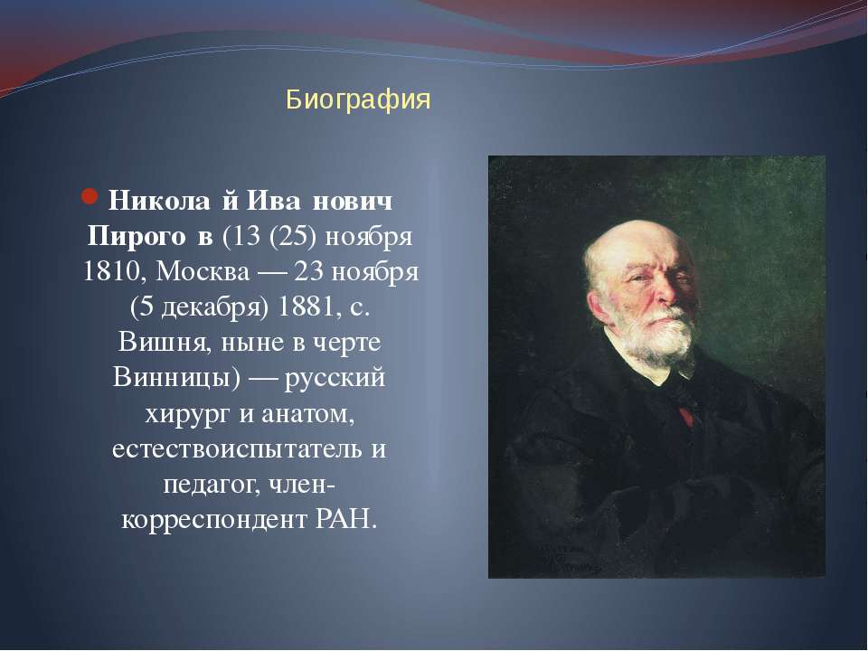 Биография Никола й Ива нович Пирого в (13 (25) ноября 1810, Москва— 23 ноябр...