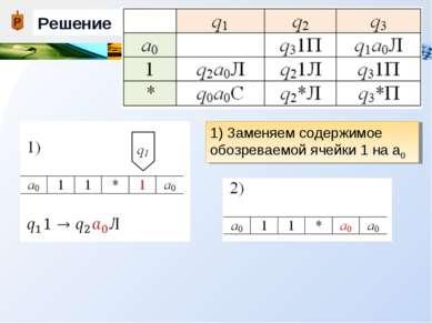 Решение 1) Заменяем содержимое обозреваемой ячейки 1 на а0