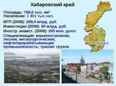 Площадь: 788,6 тыс. км2 Население: 1 401 тыс.чел. ВРП (2009): 289,4 млрд. руб...