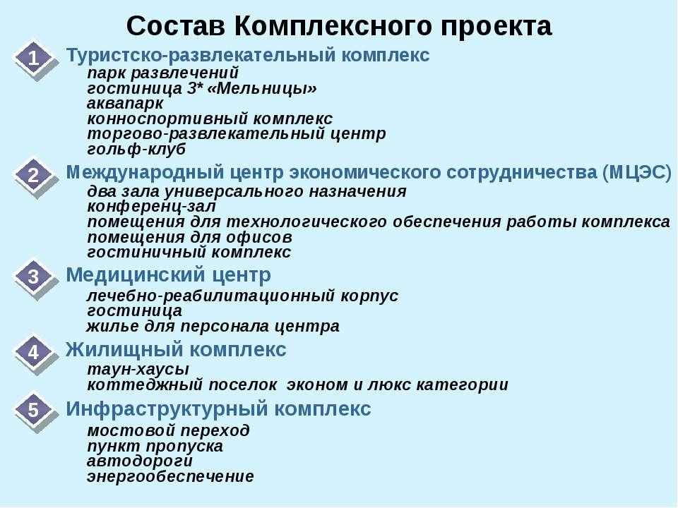 Состав Комплексного проекта 1 Туристско-развлекательный комплекс 2 Международ...