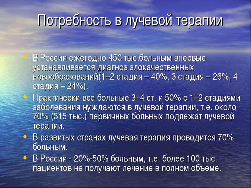 Потребность в лучевой терапии В России ежегодно 450 тыс.больным впервые устан...