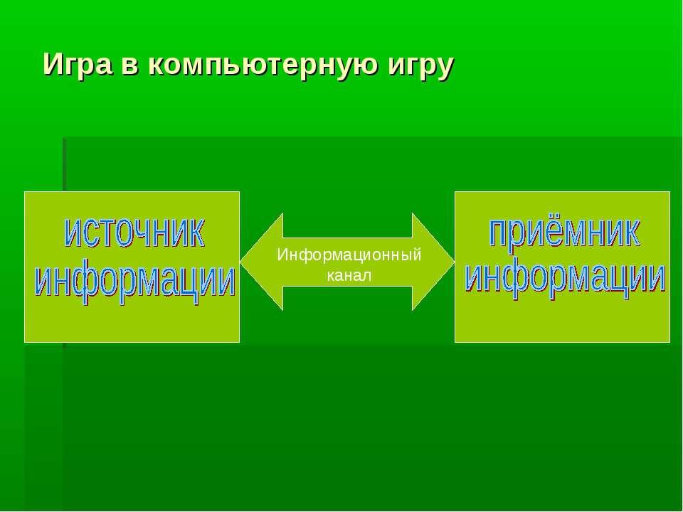 Игра в компьютерную игру Информационный канал