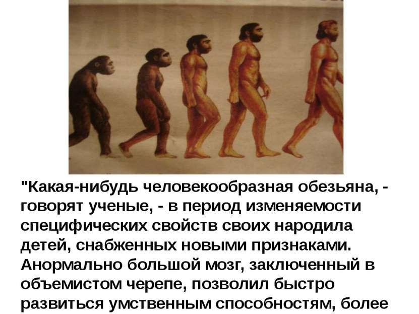 """""""Какая-нибудь человекообразная обезьяна, - говорят ученые, - в период изменяе..."""