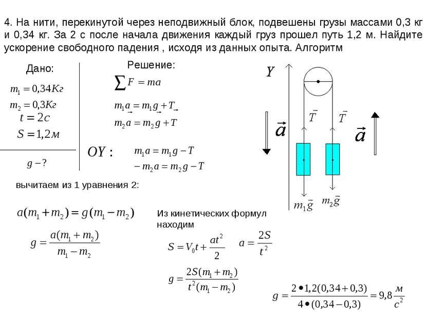 4. На нити, перекинутой через неподвижный блок, подвешены грузы массами 0,3 к...