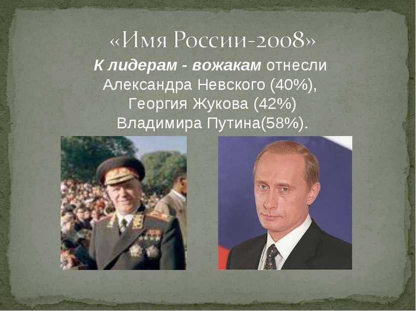 К лидерам - вожакам отнесли Александра Невского (40%), Георгия Жукова (42%) В...