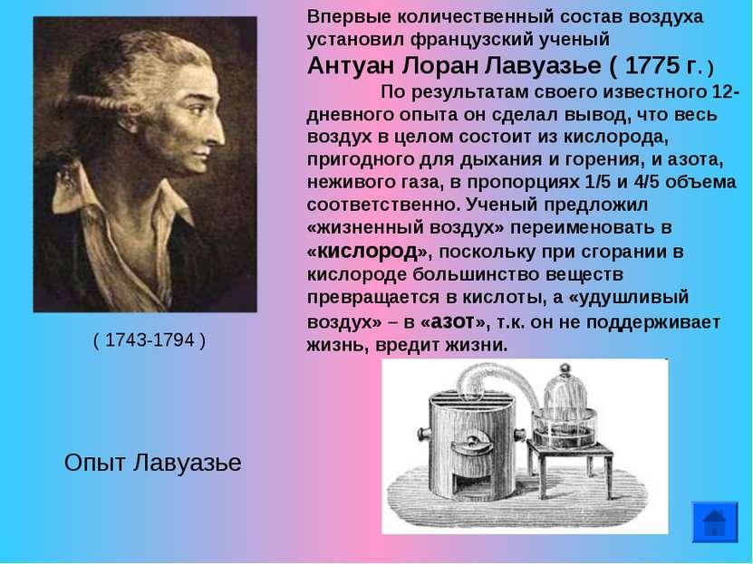 Впервые количественный состав воздуха установил французский ученый Антуан Лор...