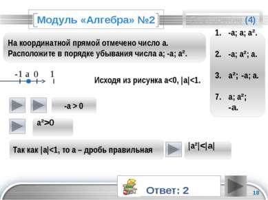 Модуль «Алгебра» №2 Исходя из рисунка a<0, |a|<1.