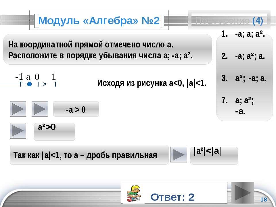 Модуль «Алгебра» №2 Исходя из рисунка a<0,  a <1.