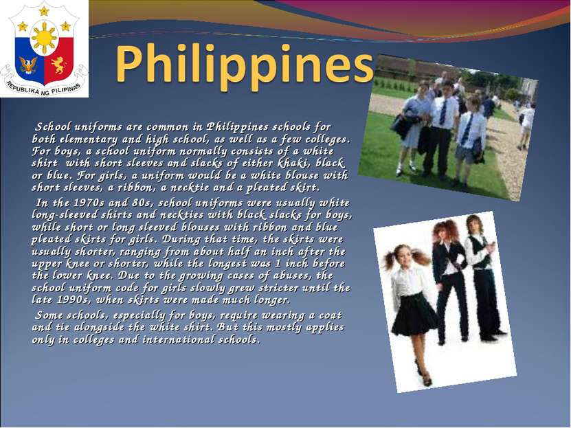 School uniforms are common in Philippines schools for both elementary and hi...