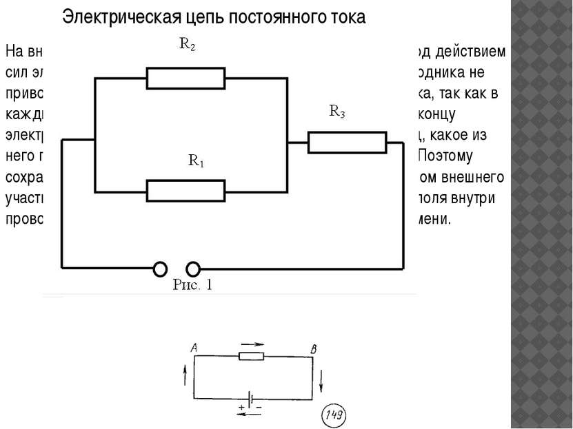 Электрическая цепь постоянного тока На внешнем участке цепи электрические зар...