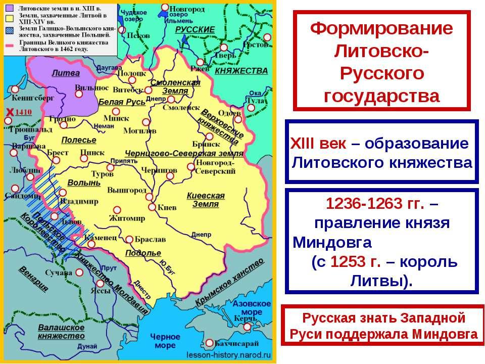 Формирование Литовско-Русского государства XIII век – образование Литовского ...