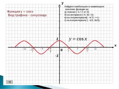 Найдите наибольшее и наименьшее значение функции на: а) отрезке [ -п./ 2; п/ ...