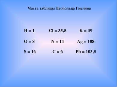 Часть таблицы Леопольда Гмелина Н = 1 Cl = 35,5 K = 39 О = 8 N = 14 Ag = 108 ...