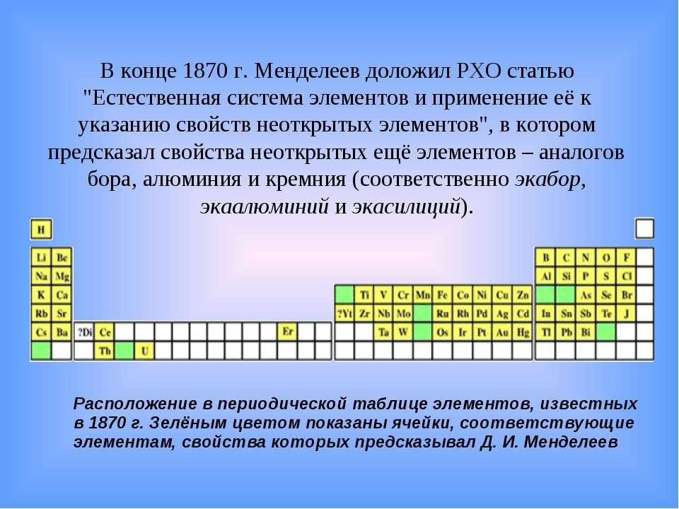 """В конце 1870г. Менделеев доложил РХО статью """"Естественная система элементов ..."""