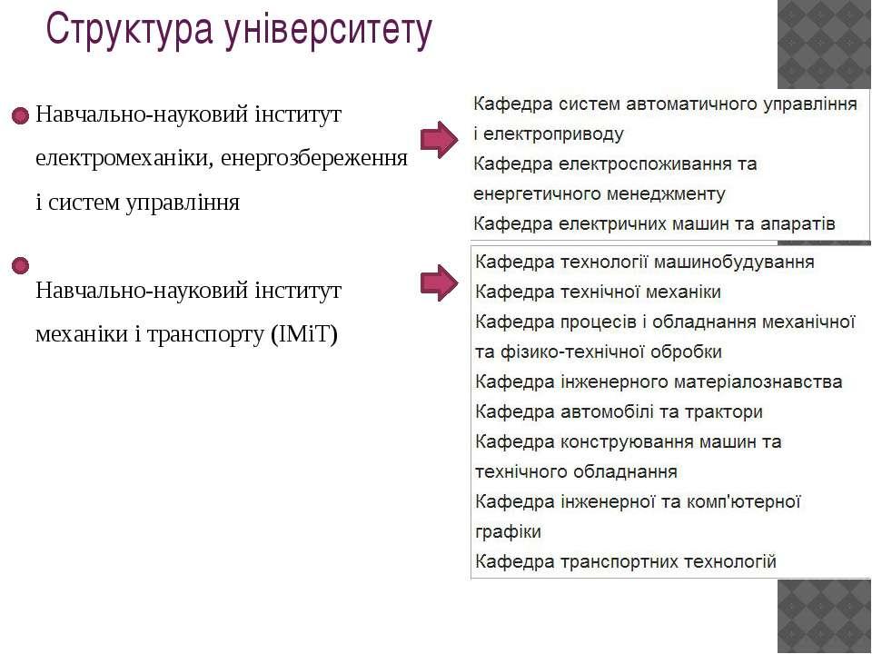 Структура університету Навчально-науковий інститут електромеханіки, енергозбе...