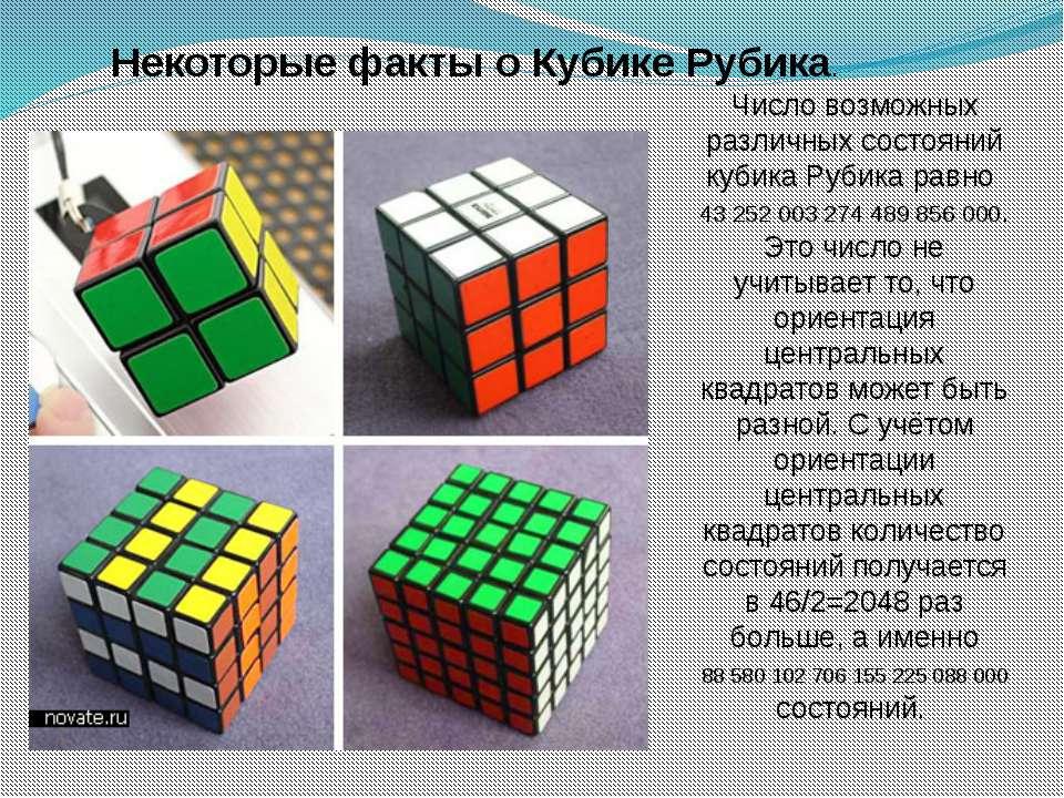Некоторые факты о Кубике Рубика. Число возможных различных состояний кубика Р...