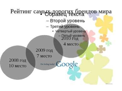 Рейтинг самых дорогих брендов мира 2008 год 10 место 2009 год 7 место 2010 го...