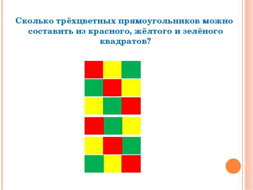 Сколько трёхцветных прямоугольников можно составить из красного, жёлтого и зе...