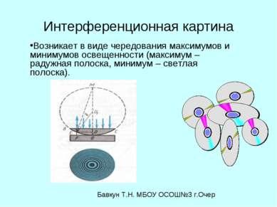 Интерференционная картина Возникает в виде чередования максимумов и минимумов...