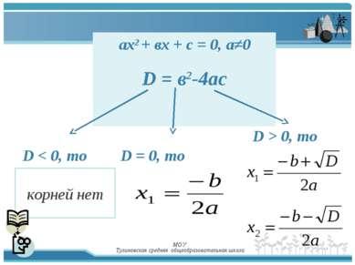МОУ Тулиновская средняя общеобразовательная школа aх2 + вх + с = 0, а≠0 D = в...