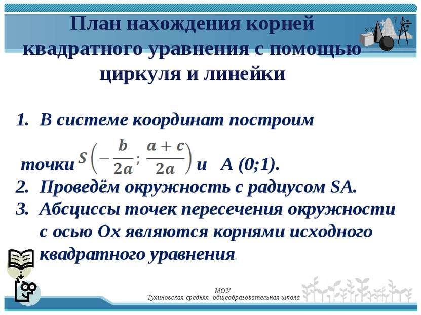 План нахождения корней квадратного уравнения с помощью циркуля и линейки В си...