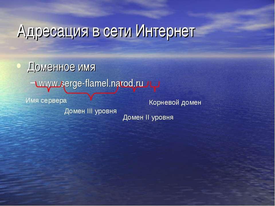 Адресация в сети Интернет Доменное имя www.serge-flamel.narod.ru Корневой дом...
