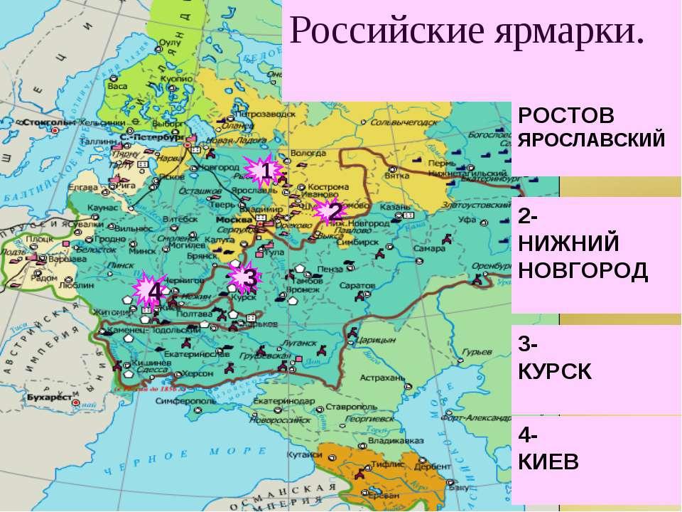 2 4 3 1 1- РОСТОВ ЯРОСЛАВСКИЙ 2- НИЖНИЙ НОВГОРОД 3- КУРСК 4- КИЕВ Российские ...