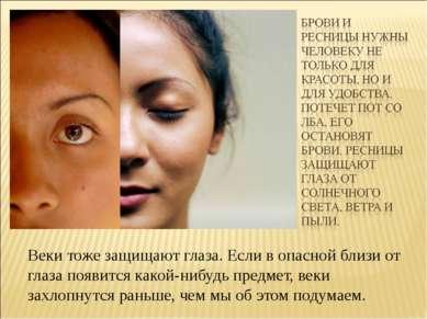 Веки тоже защищают глаза. Если в опасной близи от глаза появится какой-нибудь...