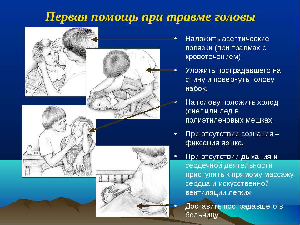 Наложить асептические повязки (при травмах с кровотечением). Уложить пострада...
