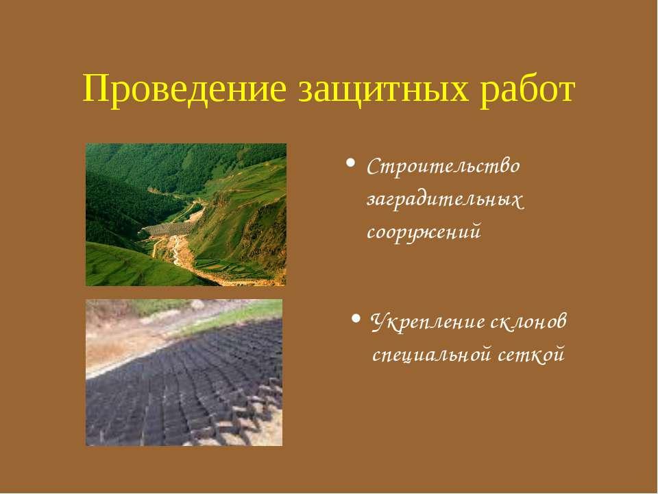 Строительство заградительных сооружений Укрепление склонов специальной сеткой...