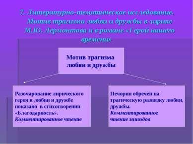 7. Литературно-тематическое исследование. Мотив трагизма любви и дружбы в лир...