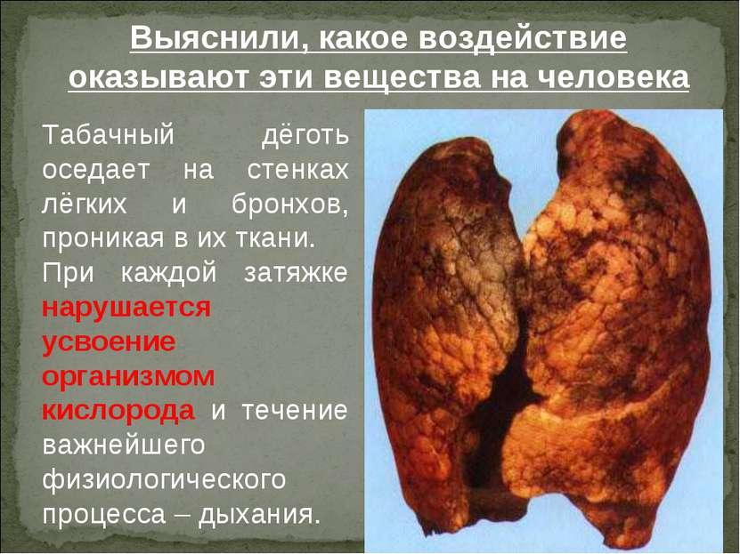 Табачный дёготь оседает на стенках лёгких и бронхов, проникая в их ткани. При...