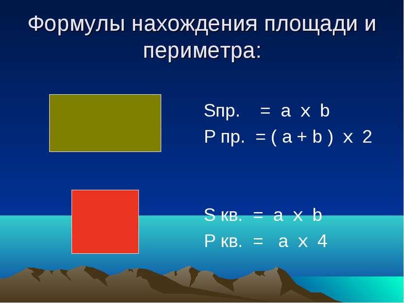 Формулы нахождения площади и периметра: Sпр. = a х b P пр. = ( a + b ) х 2 S ...