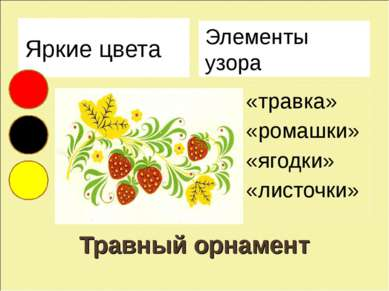 Травный орнамент Яркие цвета Элементы узора «травка» «ромашки» «ягодки» «лист...