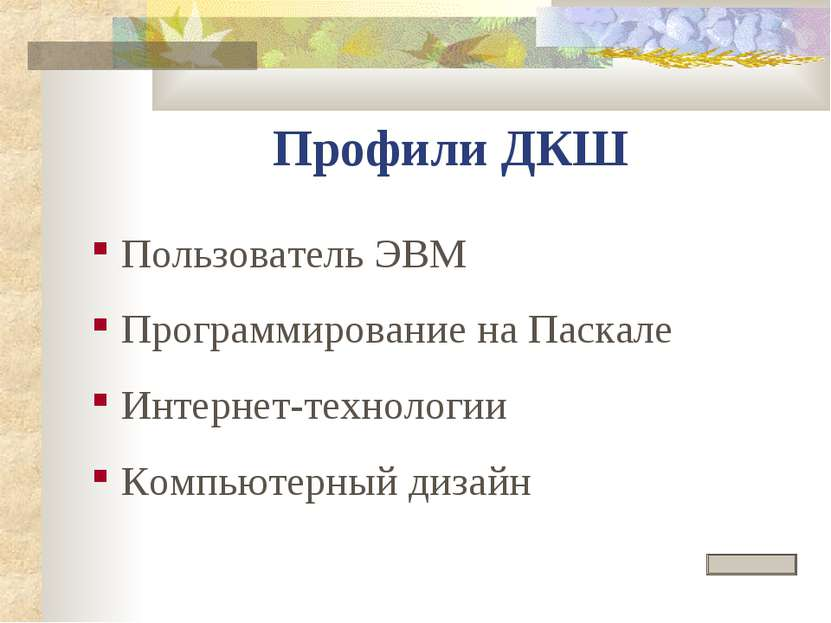 Профили ДКШ Пользователь ЭВМ Программирование на Паскале Интернет-технологии ...