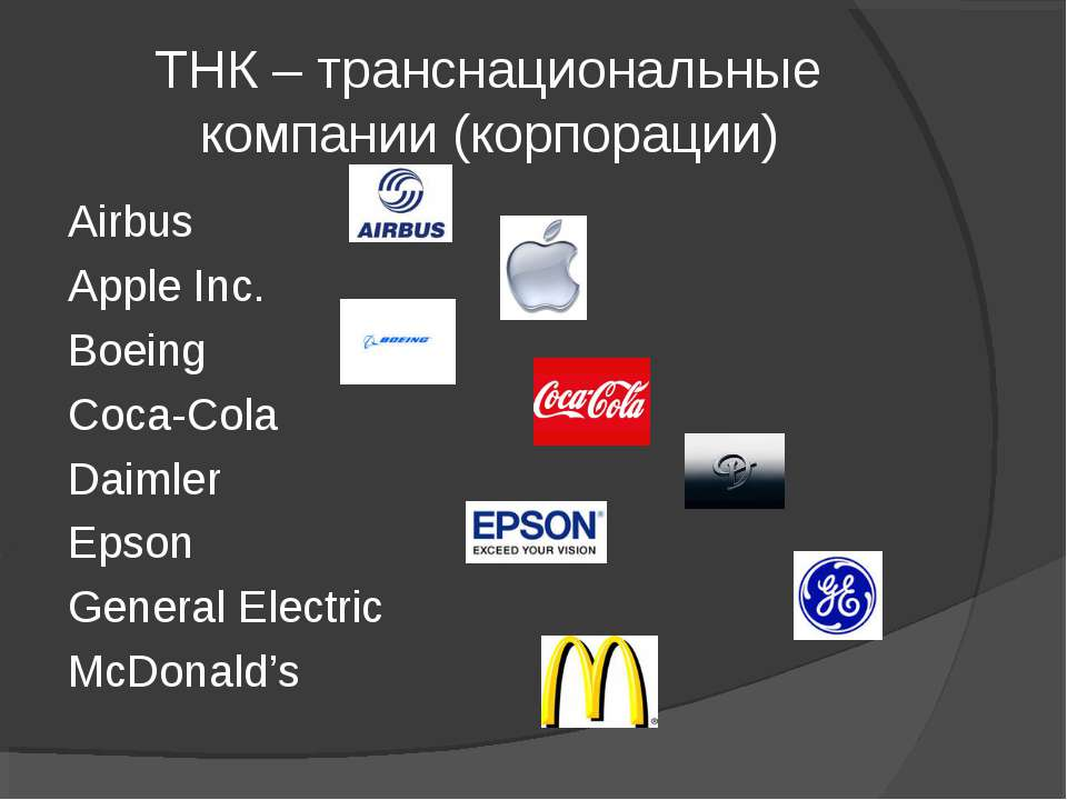ТНК – транснациональные компании (корпорации) Airbus Apple Inc. Boeing Coca-C...