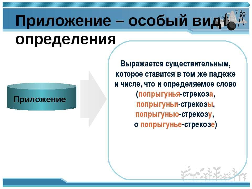 Приложение – особый вид определения Приложение Выражается существительным, ко...