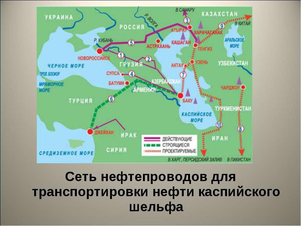 Сеть нефтепроводов для транспортировки нефти каспийского шельфа