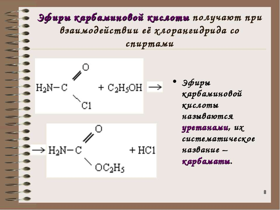 * Эфиры карбаминовой кислоты получают при взаимодействии её хлорангидрида со ...