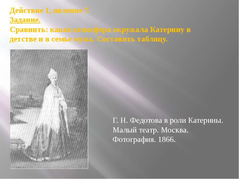 Г.Н.Федотова в роли Катерины. Малый театр. Москва. Фотография. 1866. Действ...